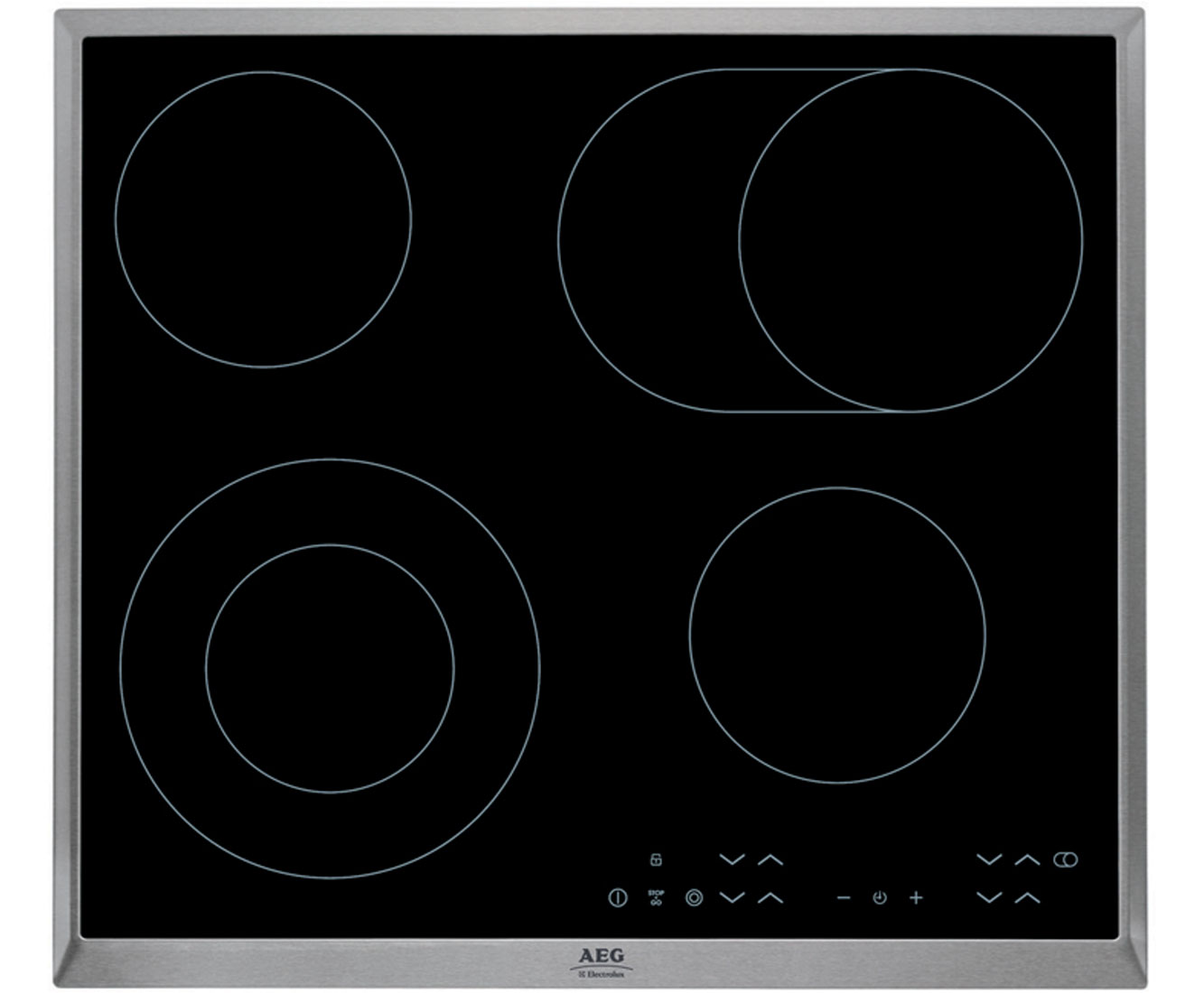 AEG Competence HK634060XB Integrated Electric Hob in Black  Stainless Steel
