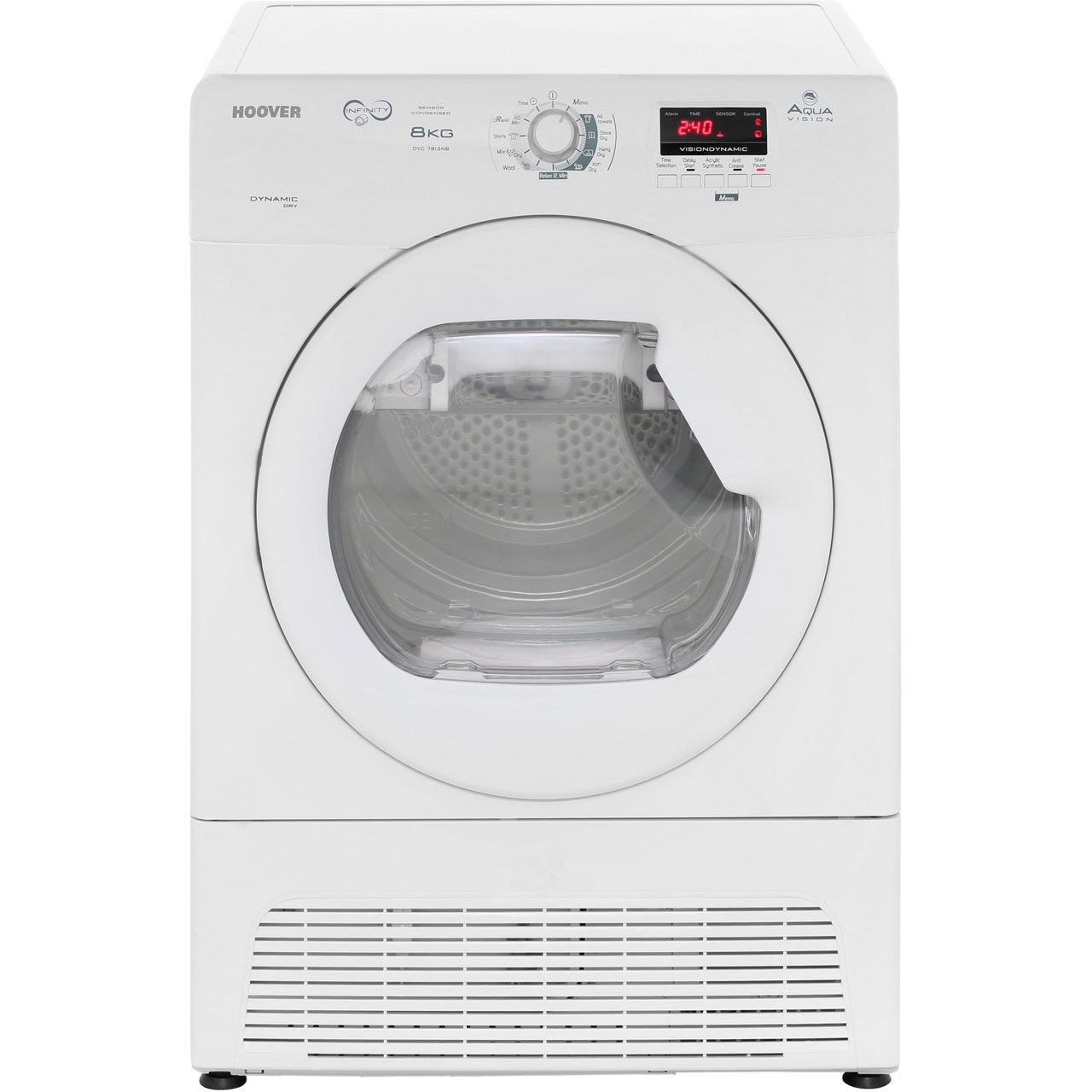 Hoover Aquavision DYC7813NB Condenser Tumble Dryer - White