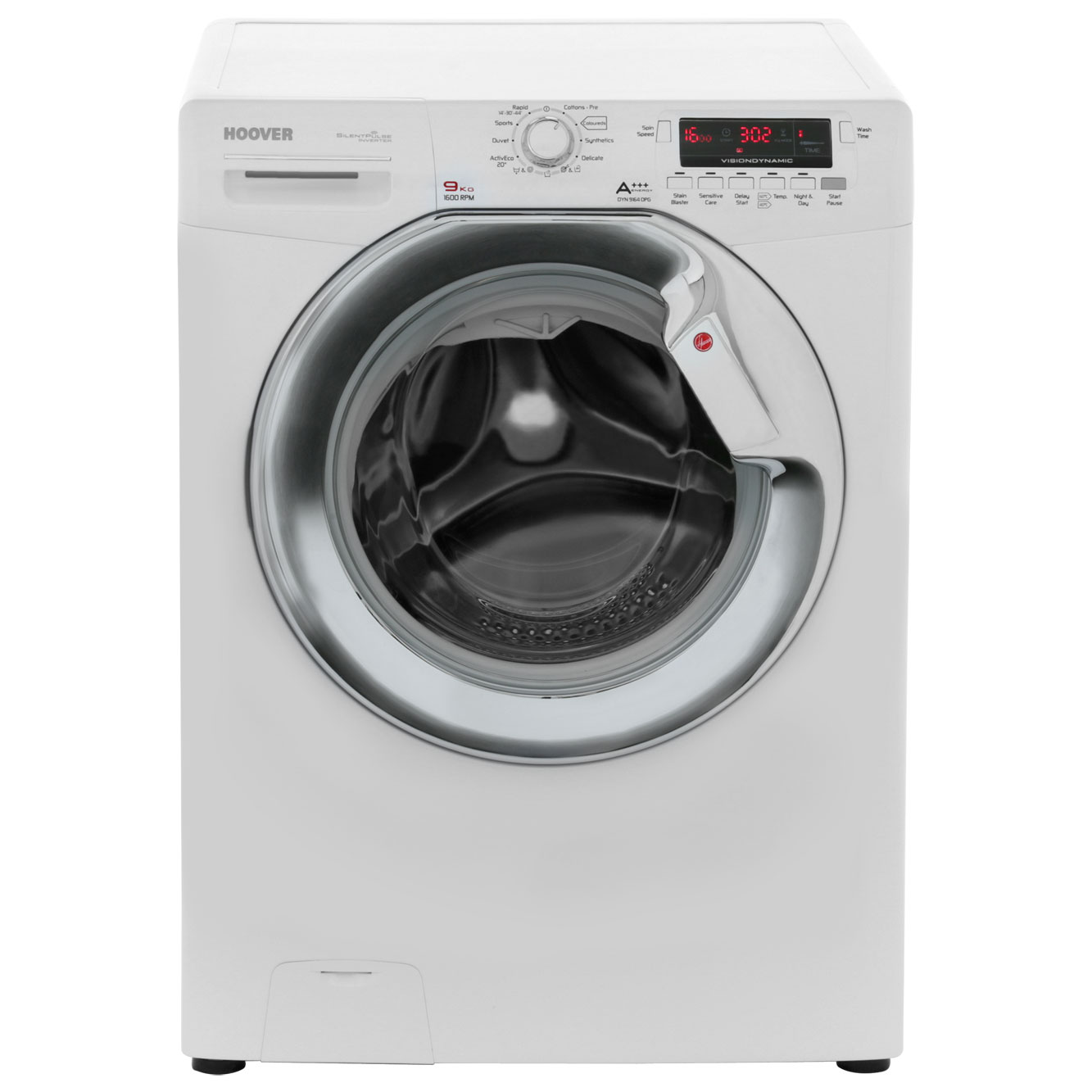Hoover Dynamic 9 DYN9164DPG 9Kg Washing Machine with 1600 rpm - White / Silver