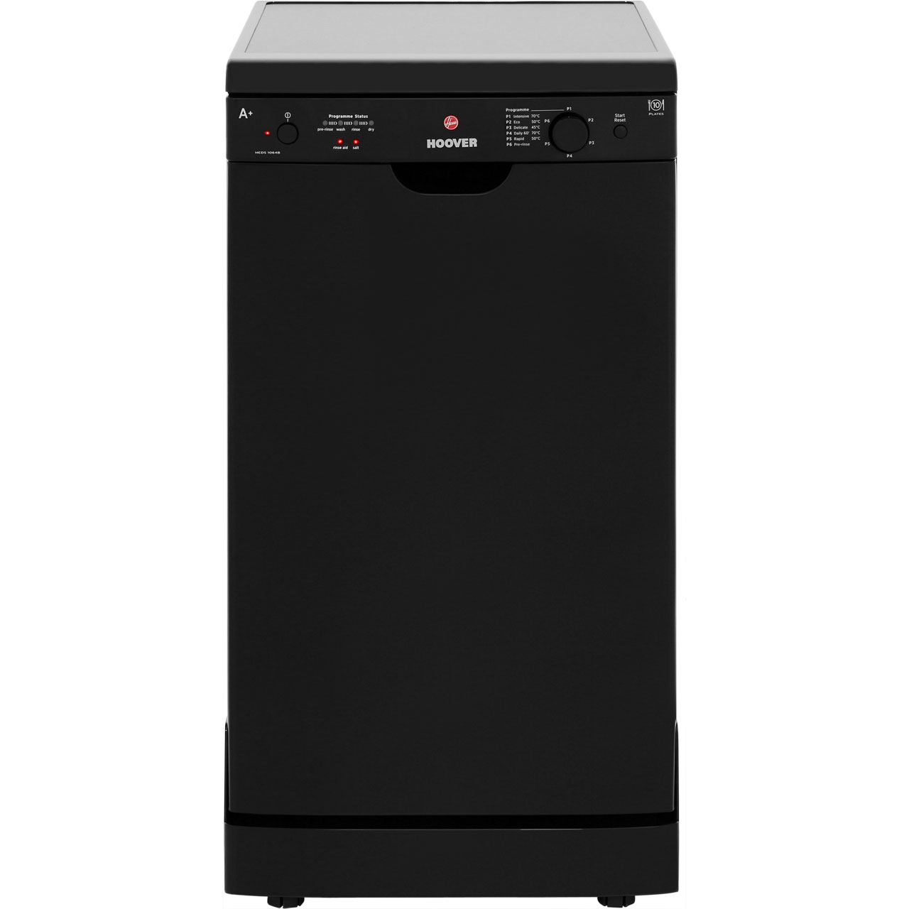 Hoover Dynamic HEDS1064B Free Standing Slimline Dishwasher in Black