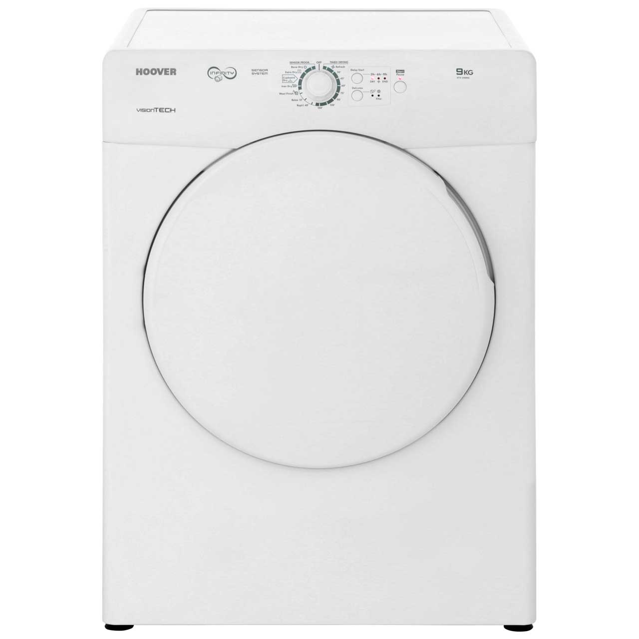 Hoover Vision Tech VTV590NC Free Standing Vented Tumble Dryer in White