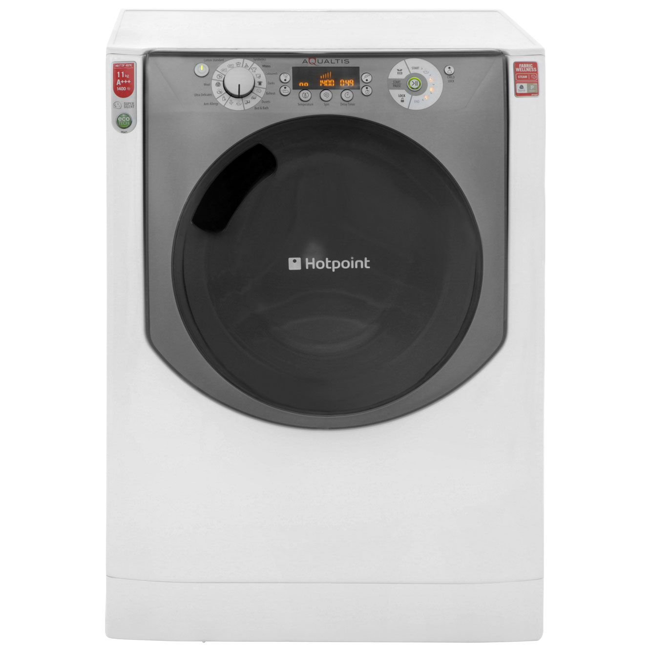 Hotpoint Aqualtis AQ113F497E 11Kg Washing Machine with 1400 rpm - White / Tungsten
