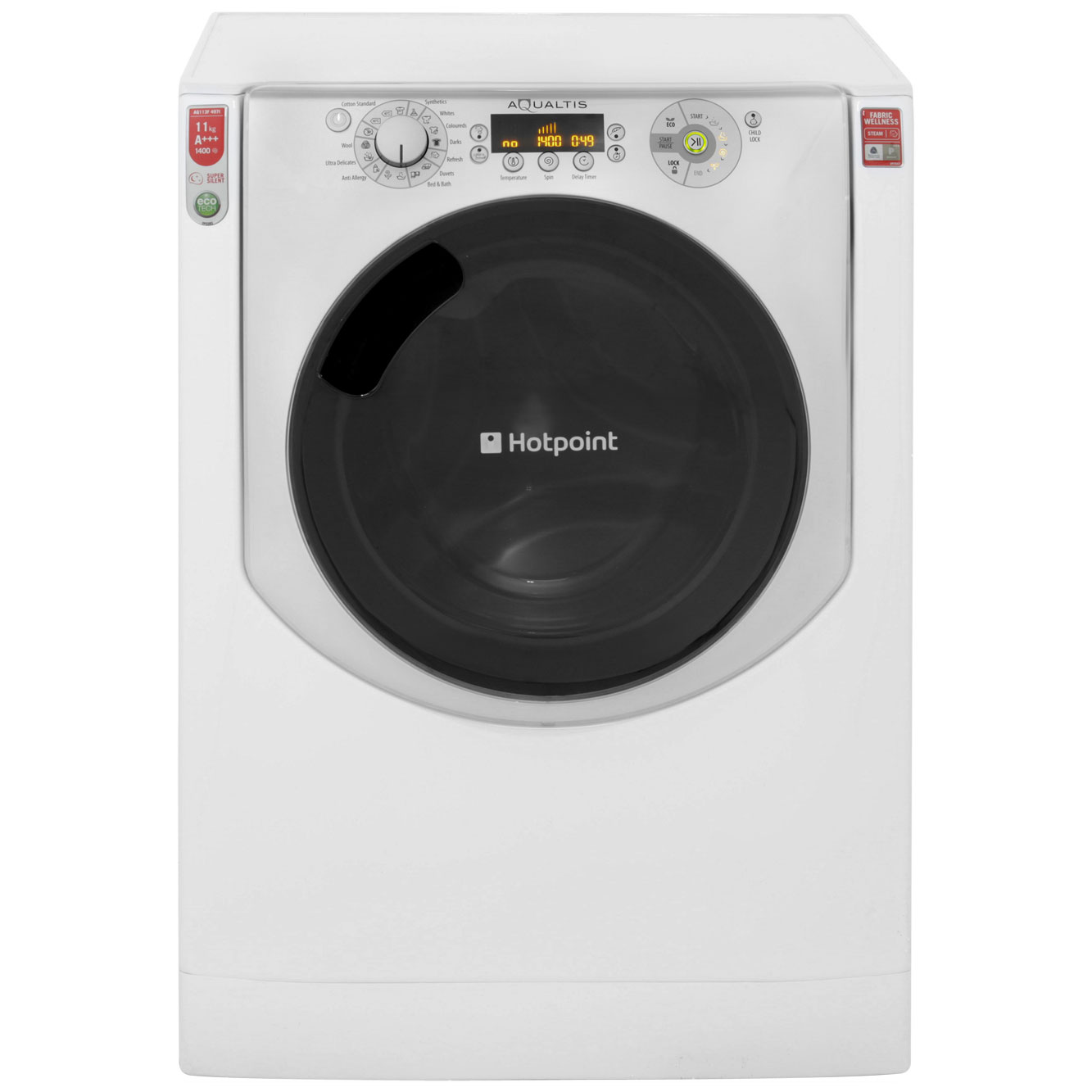 Hotpoint Aqualtis AQ113F497I 11Kg Washing Machine with 1400 rpm - White / Ice