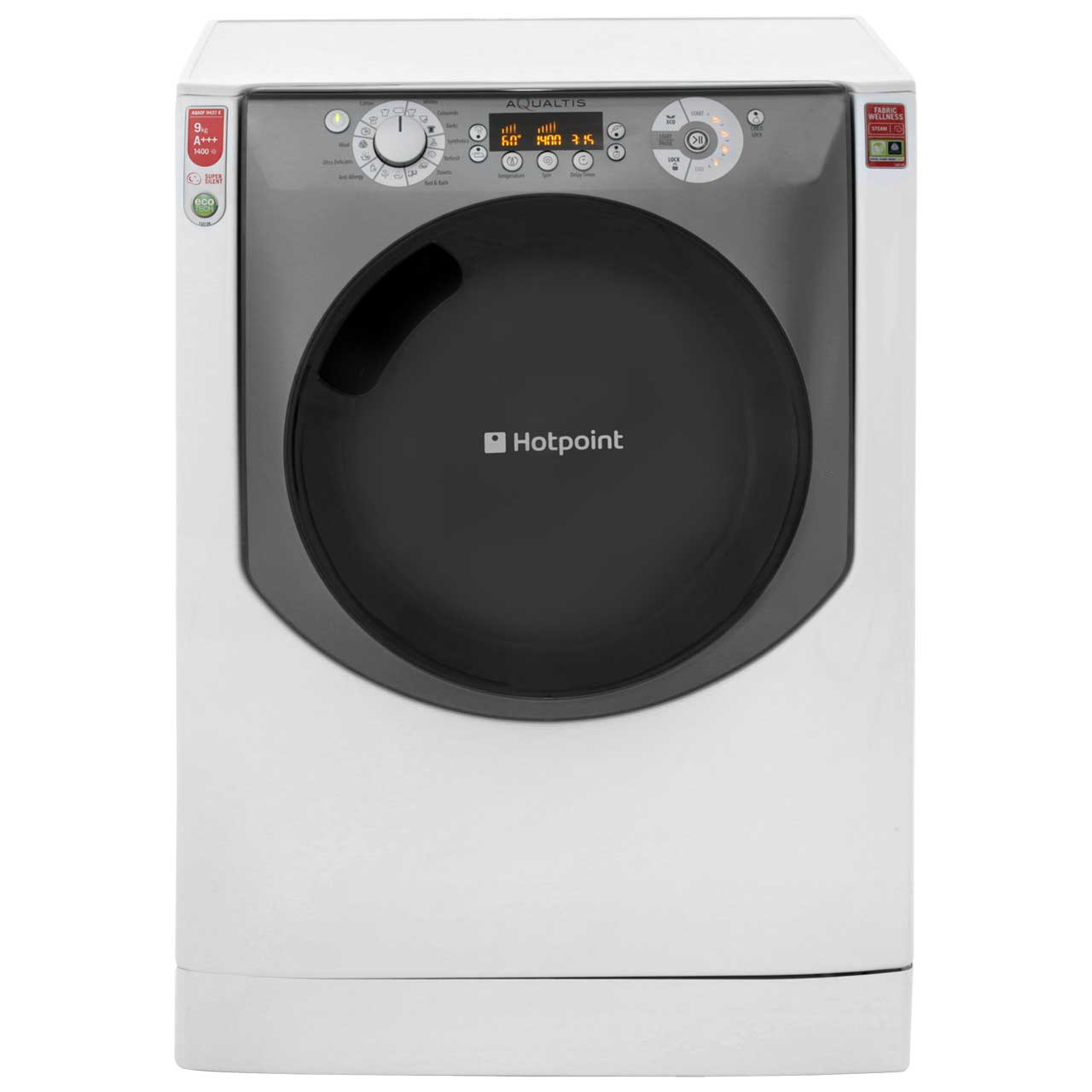 Hotpoint Aqualtis AQAOF9437E Free Standing Washing Machine in Tungsten
