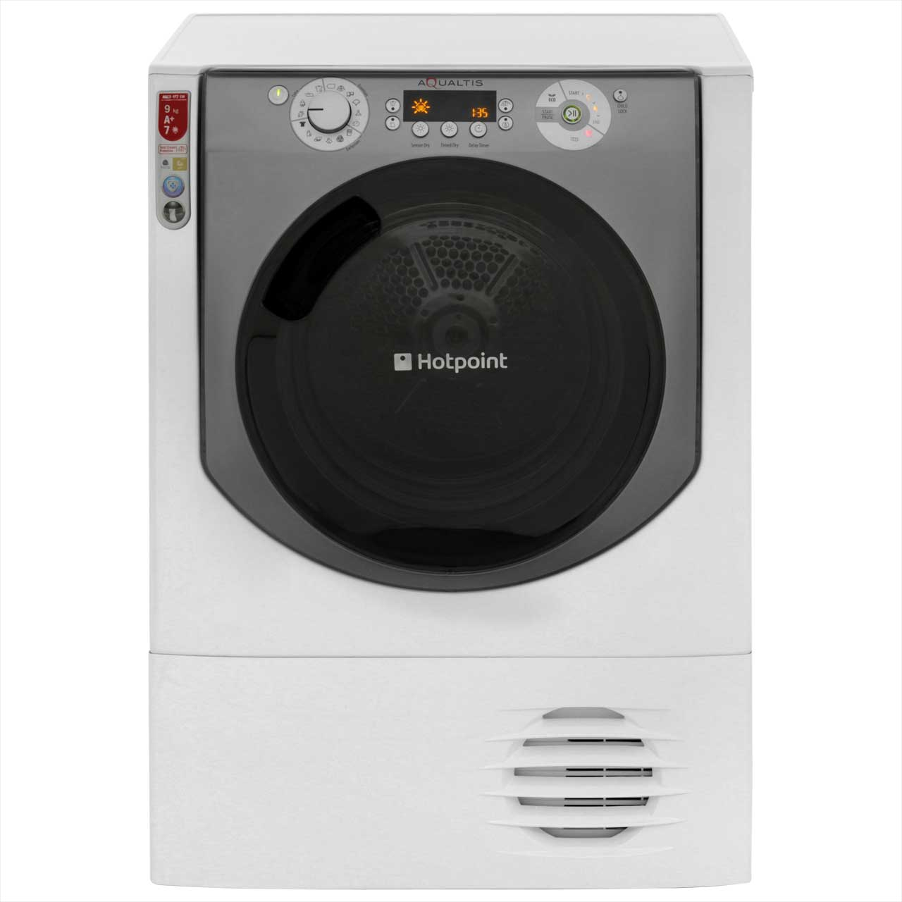 Hotpoint Aqualtis AQC94F7E1M Free Standing Condenser Tumble Dryer in White