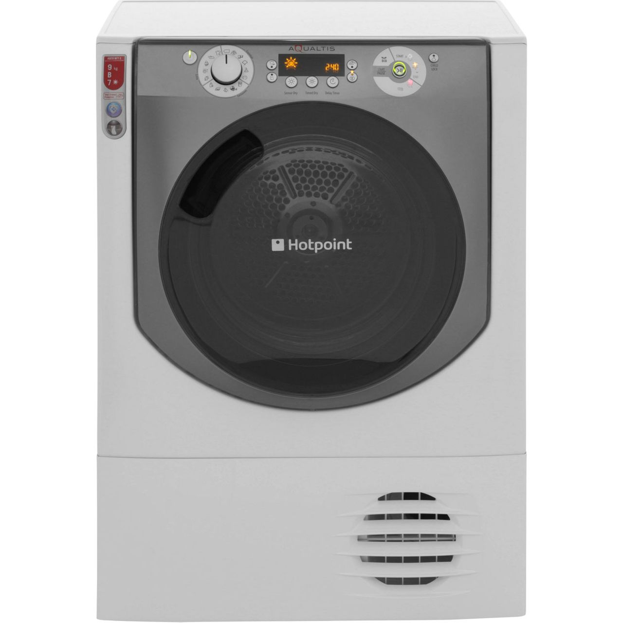 Hotpoint Aqualtis AQC9BF7E1 Free Standing Condenser Tumble Dryer in White  Tungsten
