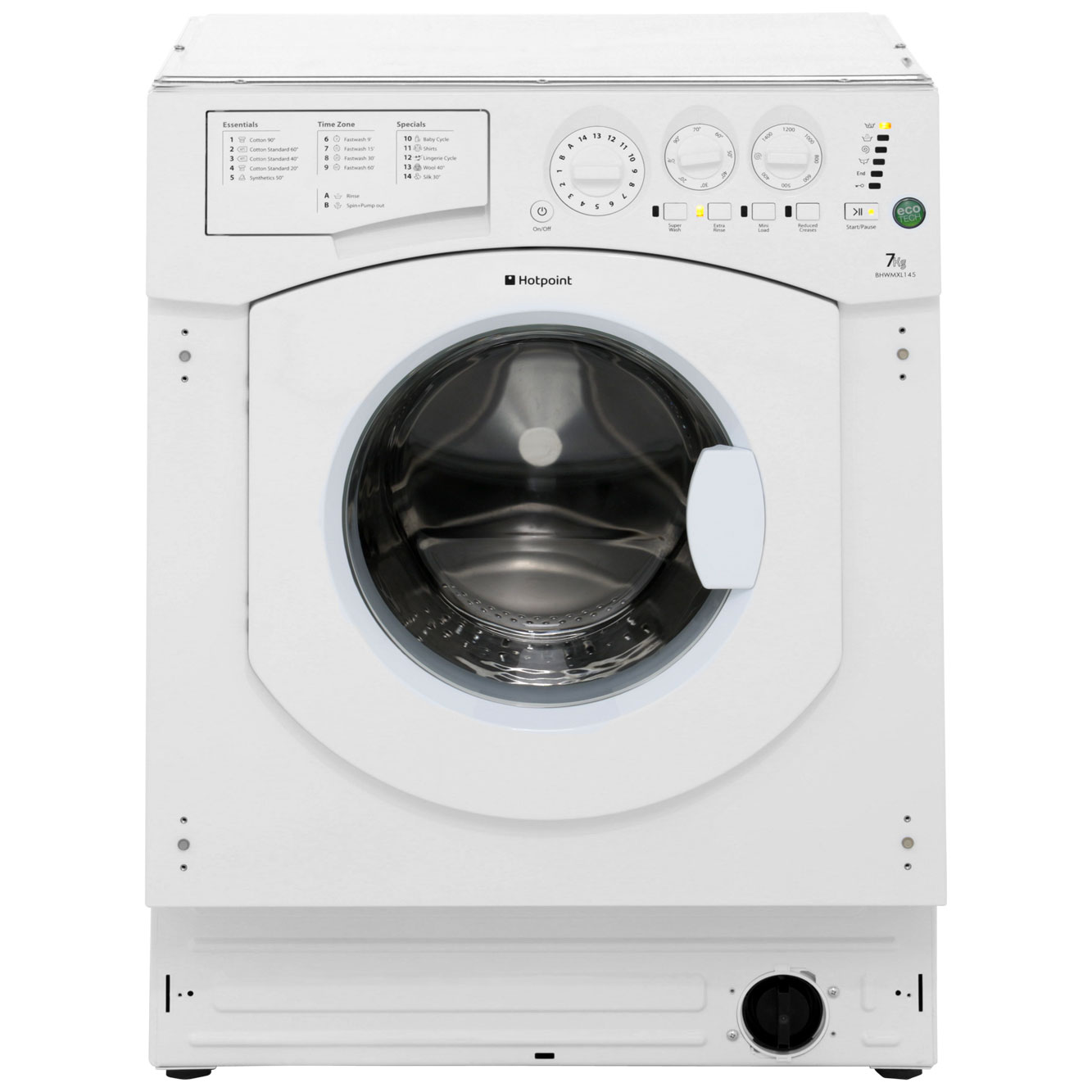 Hotpoint Aquarius BHWMXL145 Integrated Washing Machine in White