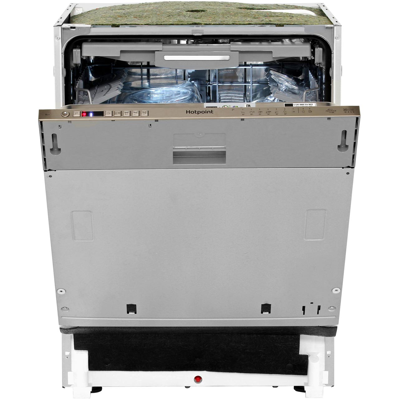Hotpoint HIO3T232WGE Fully Integrated Standard Dishwasher Stainless Steel Control Panel with Fixed Door Fixing Kit