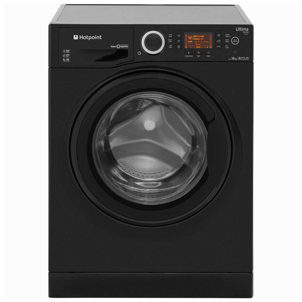 Hotpoint Ultima SLine RPD10457JKK Free Standing Washing Machine in Black
