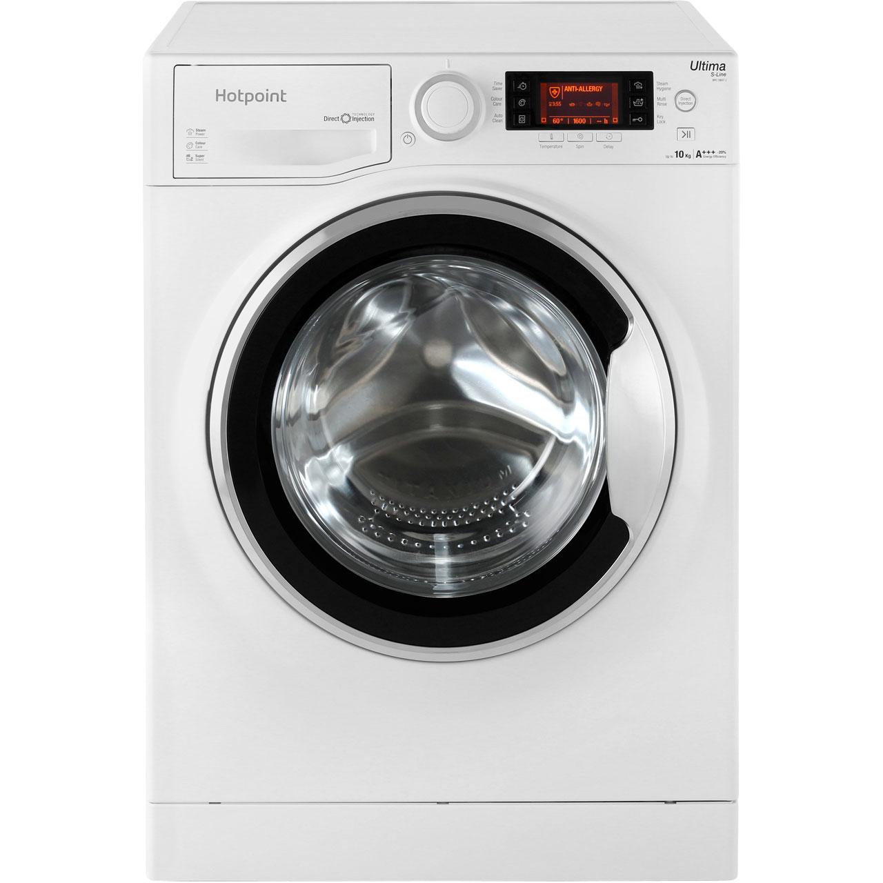 Hotpoint Ultima SLine RPD10657JX Free Standing Washing Machine in White  Chrome