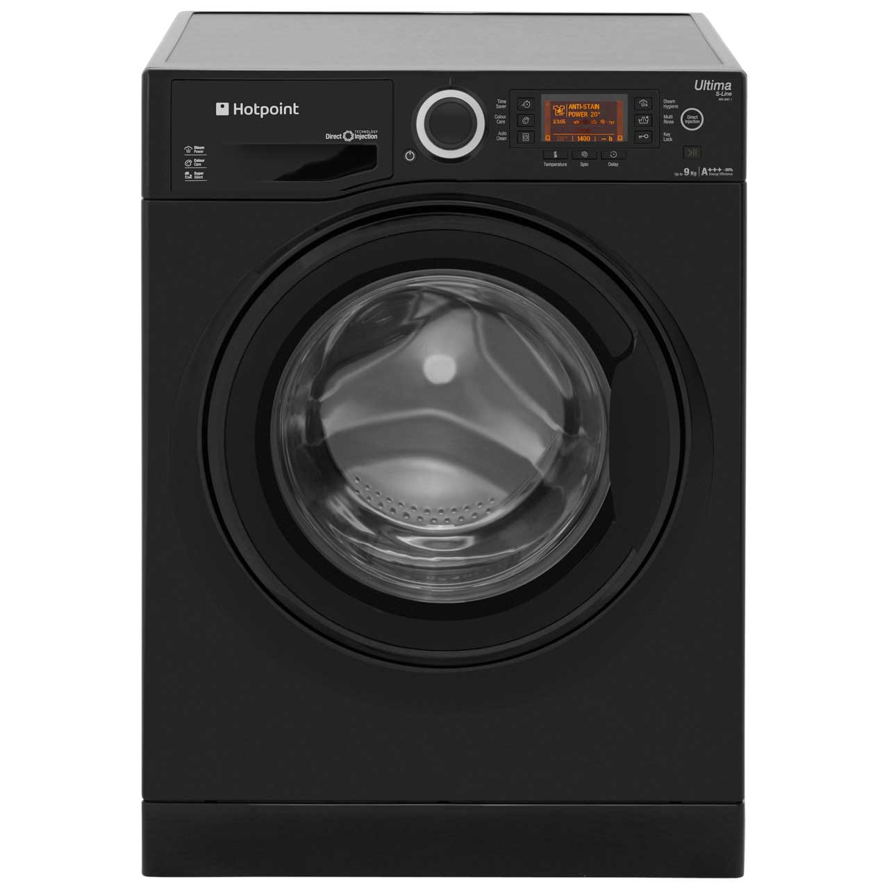 Hotpoint Ultima SLine RPD9467JKK Free Standing Washing Machine in Black
