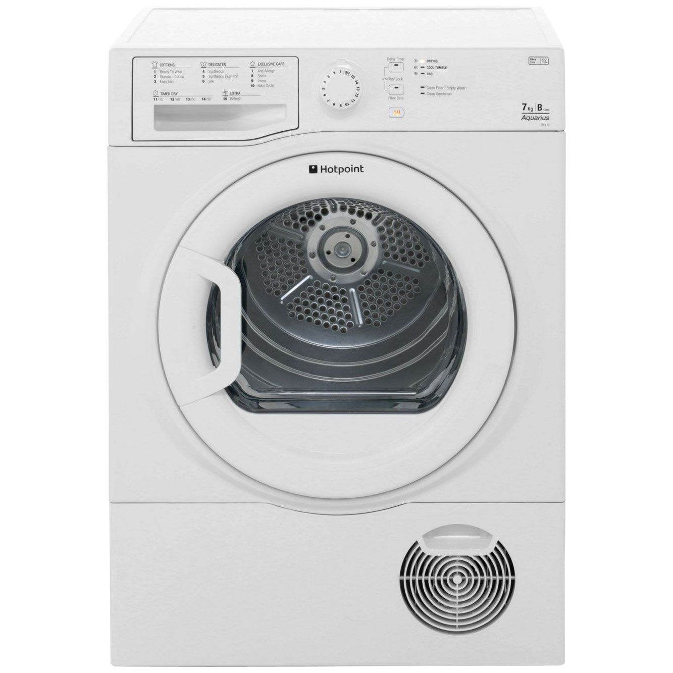 Hotpoint Aquarius TCFS73BGP Free Standing Condenser Tumble Dryer in White