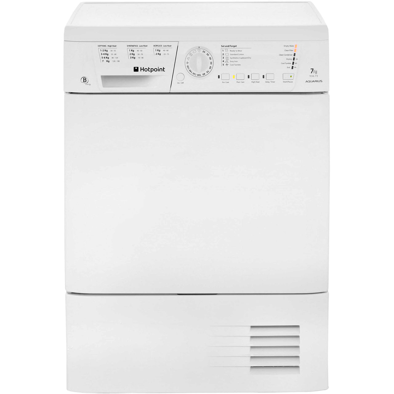 Hotpoint Aquarius TCHL73BRP Free Standing Condenser Tumble Dryer in White