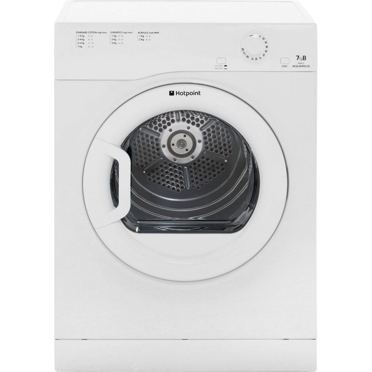 Hotpoint Aquarius TVFM70BGP Free Standing Vented Tumble Dryer in White