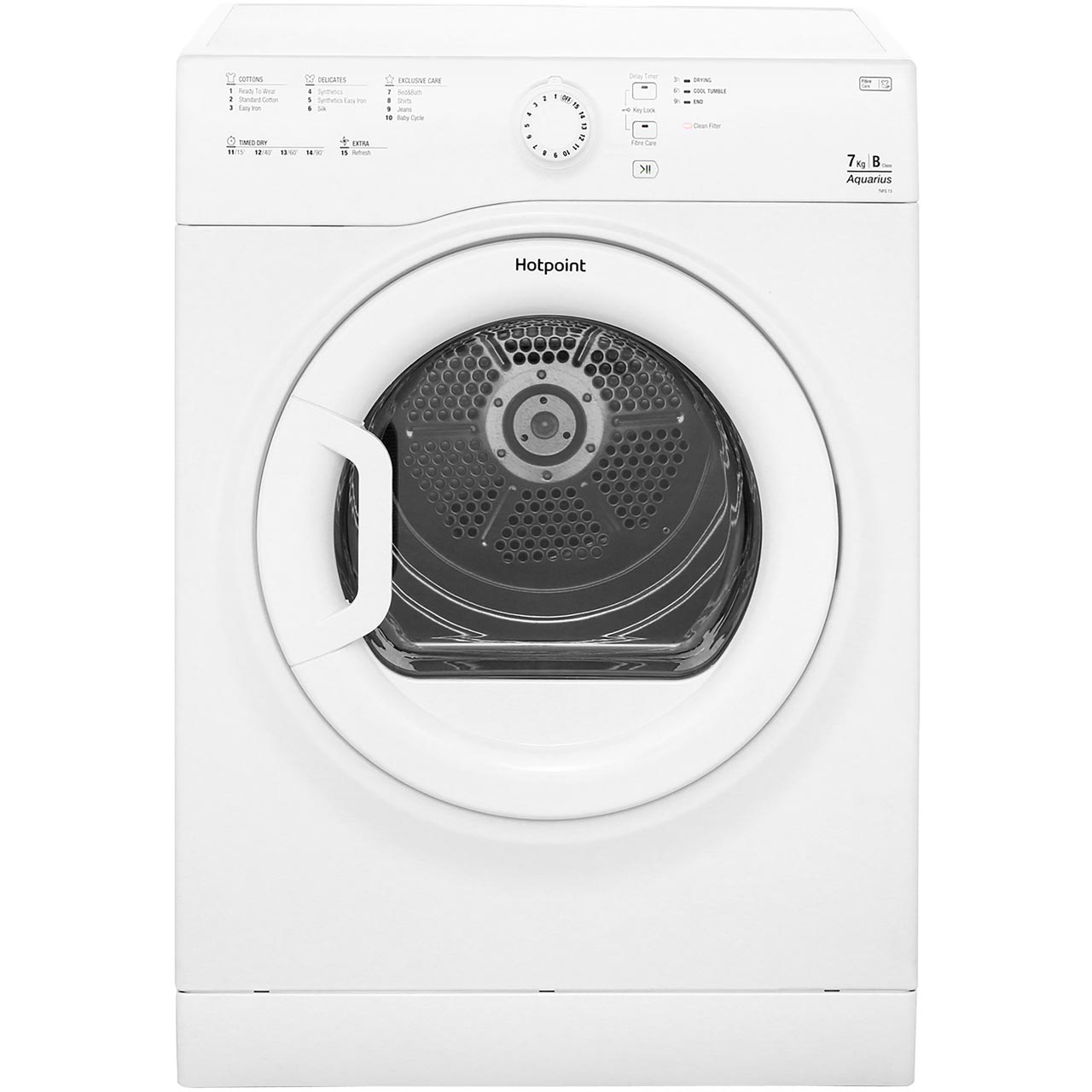 Hotpoint Aquarius TVFS73BGP Free Standing Vented Tumble Dryer in White