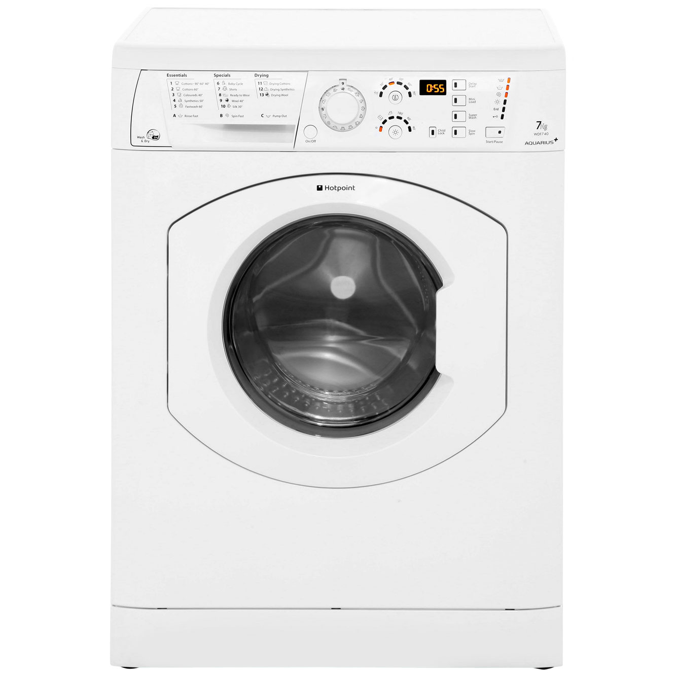 Hotpoint Aquarius WDF740P Free Standing Washer Dryer in Polar White