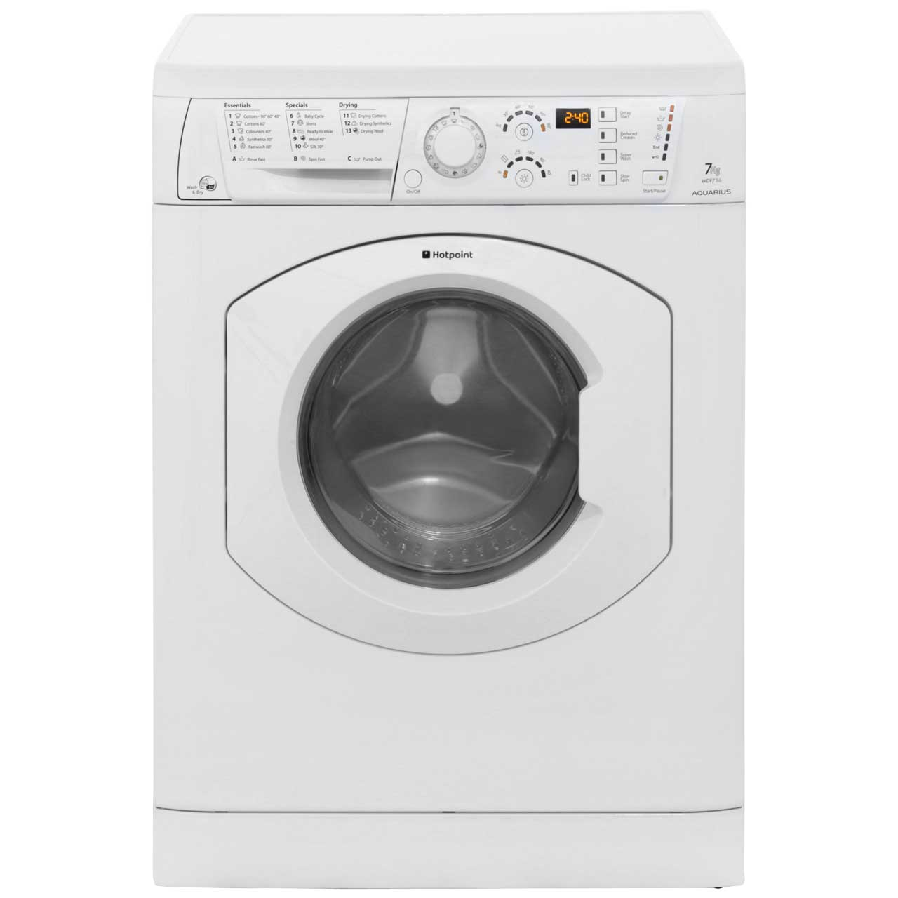 Hotpoint Aquarius WDF756P Free Standing Washer Dryer in White