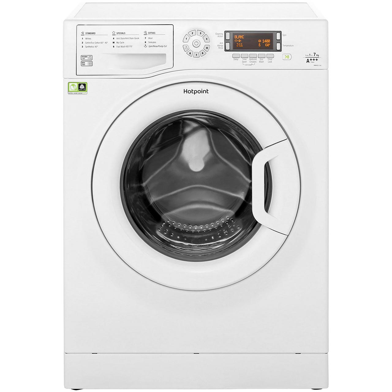 ... Hotpoint CarePlus WMAOD743P 7Kg Washing Machine with 1400 rpm - White - A+++ Rated - WMAOD743P_WH ...