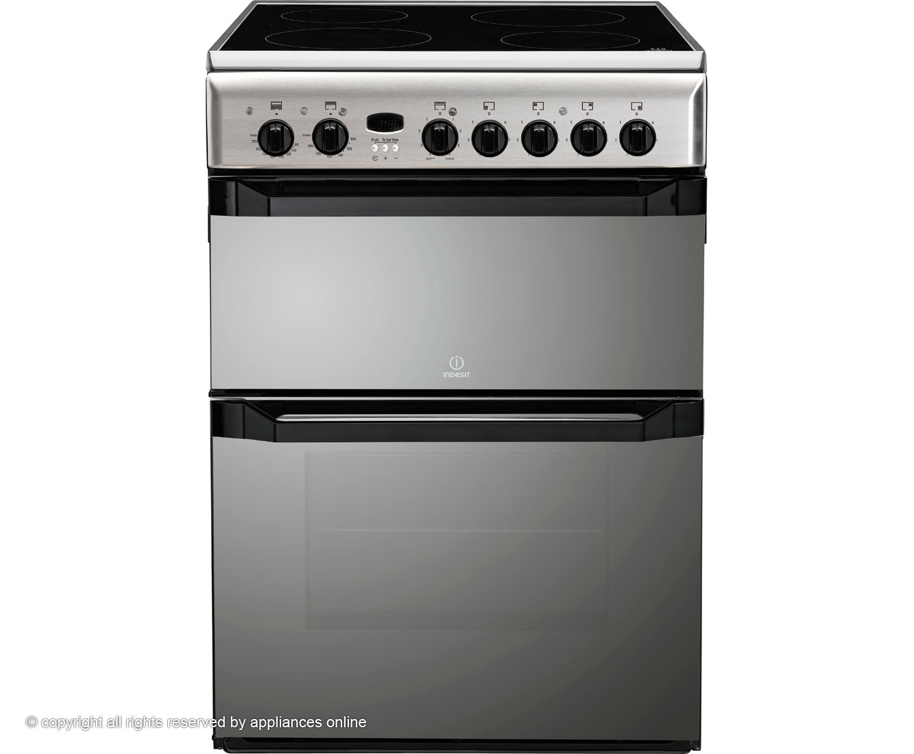 Indesit Advance ID60C2MS Electric Cooker with Ceramic Hob - Silver