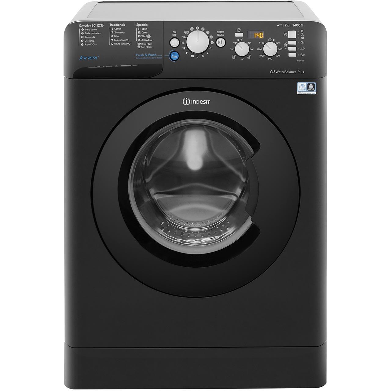 indesit innex bwd71453kuk washing machine black. Black Bedroom Furniture Sets. Home Design Ideas