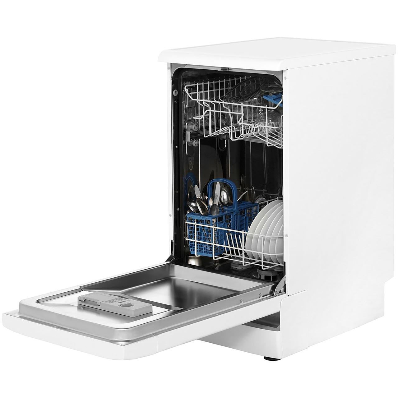 Small Dish Washer Dsr57b1 Wh Indesit Slimline Dishwasher Aocom