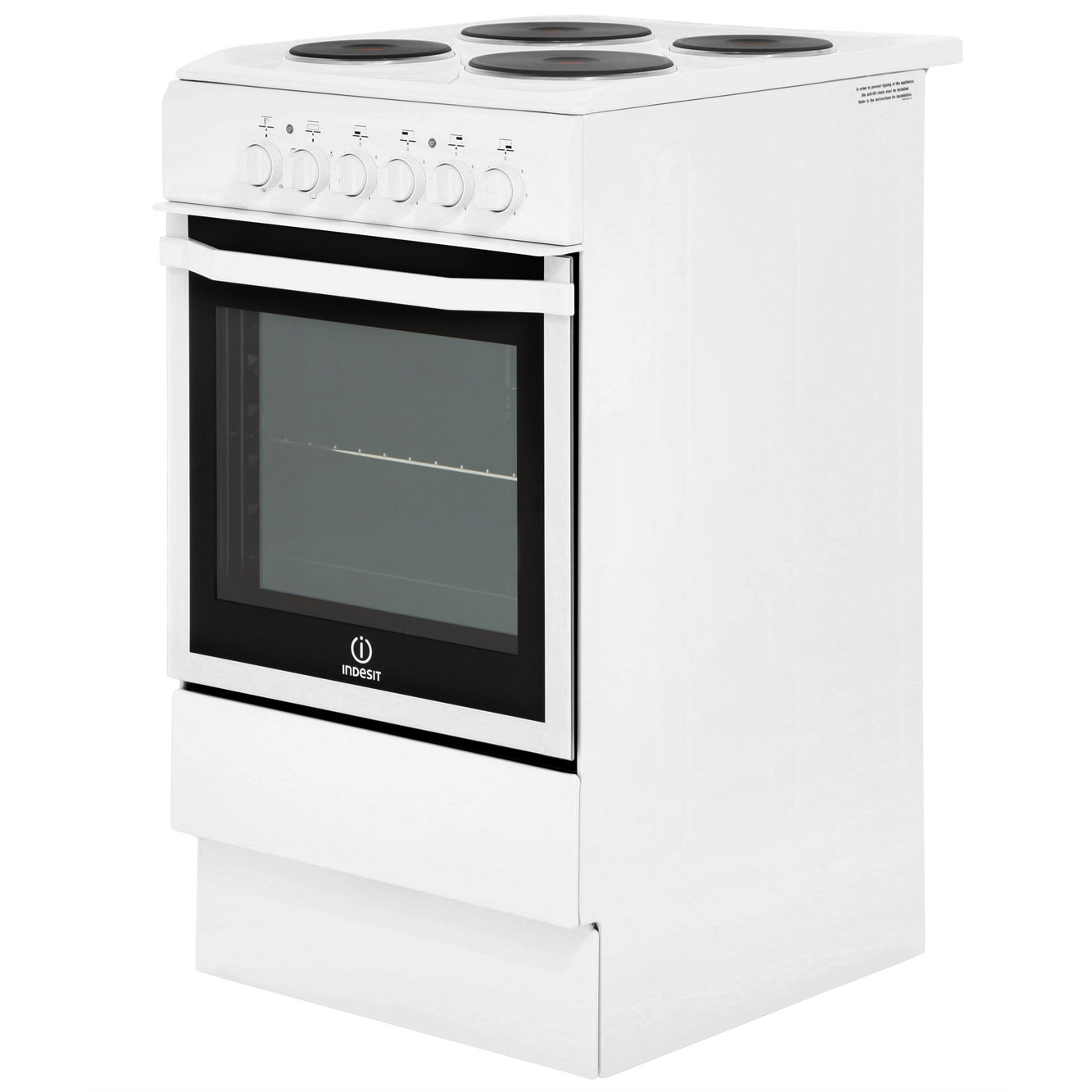 Indesit I5ESHW Free Standing B Electric Cooker with Solid ...