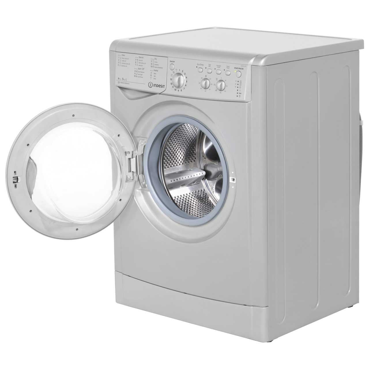 indesit iwdc6125s eco time free standing 6kg washer dryer silver new from ao 8007842625127 ebay. Black Bedroom Furniture Sets. Home Design Ideas