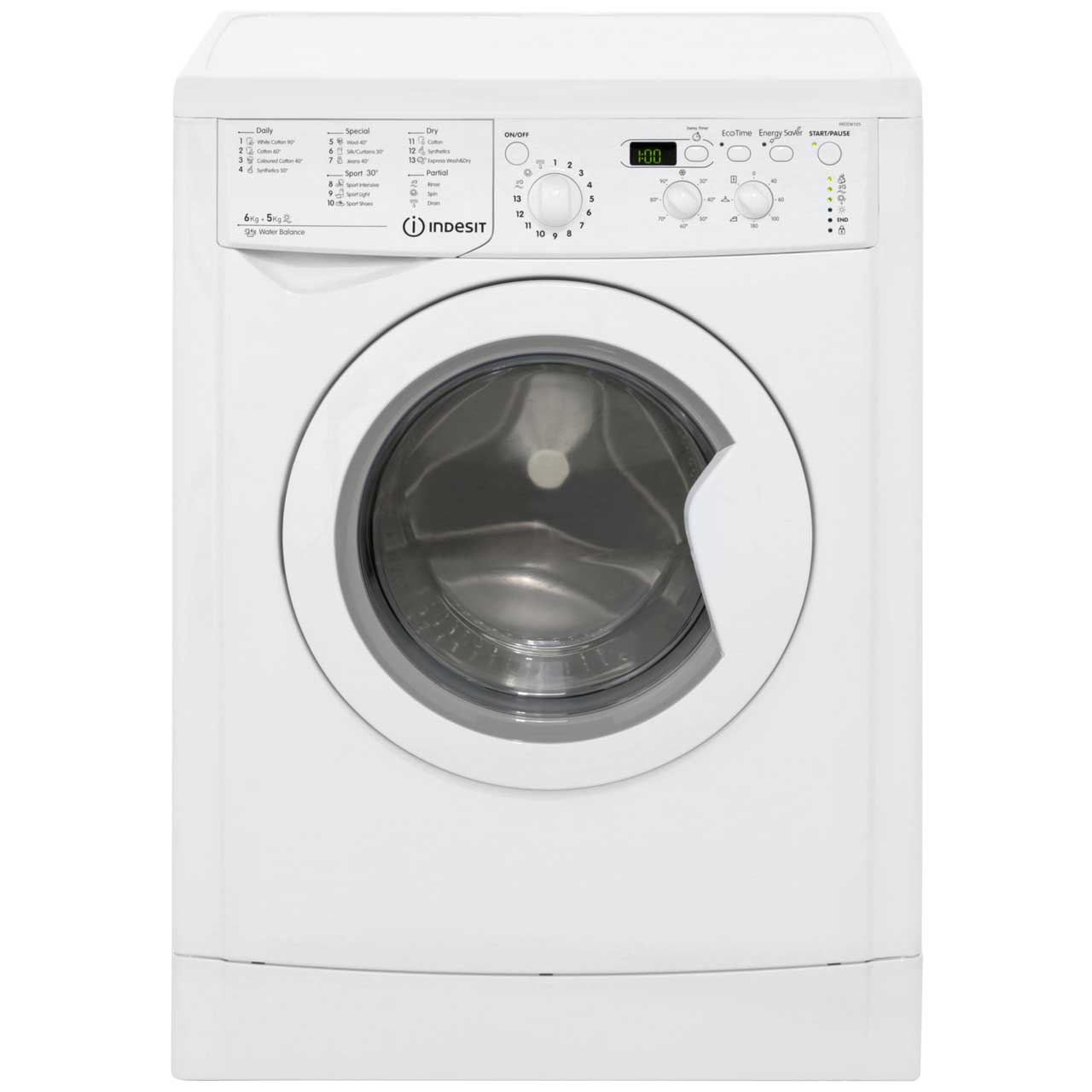 Indesit Eco Time IWDD6105B 6Kg / 5Kg Washer Dryer with 1000 rpm - White