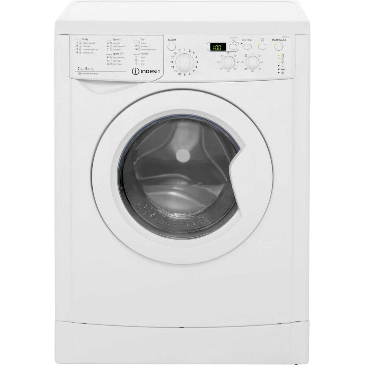 Indesit IWDD7143 7Kg / 5Kg Washer Dryer with 1400 rpm - White