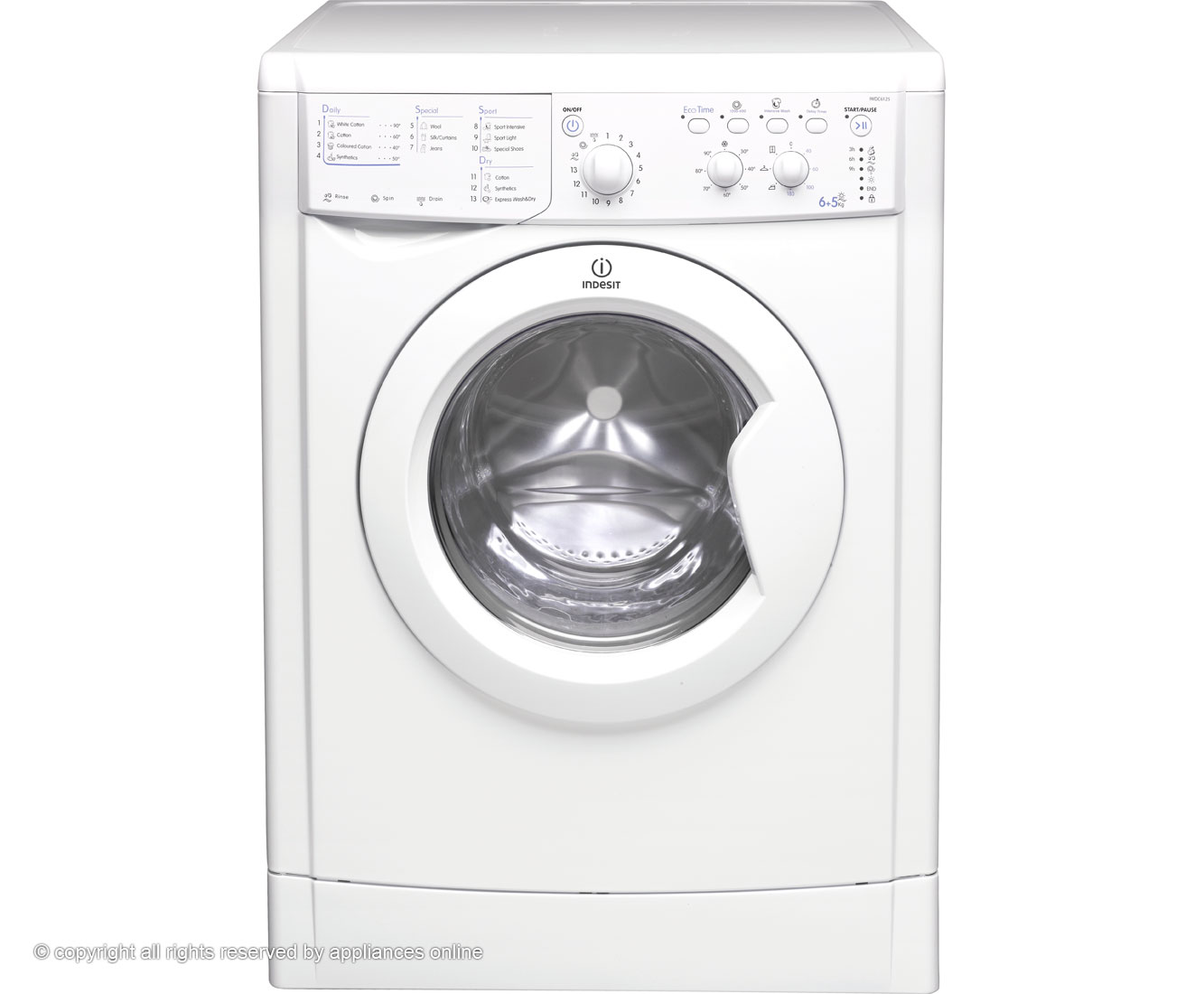 Indesit Start IWDC6125 6Kg / 5Kg Washer Dryer with 1200 rpm - White