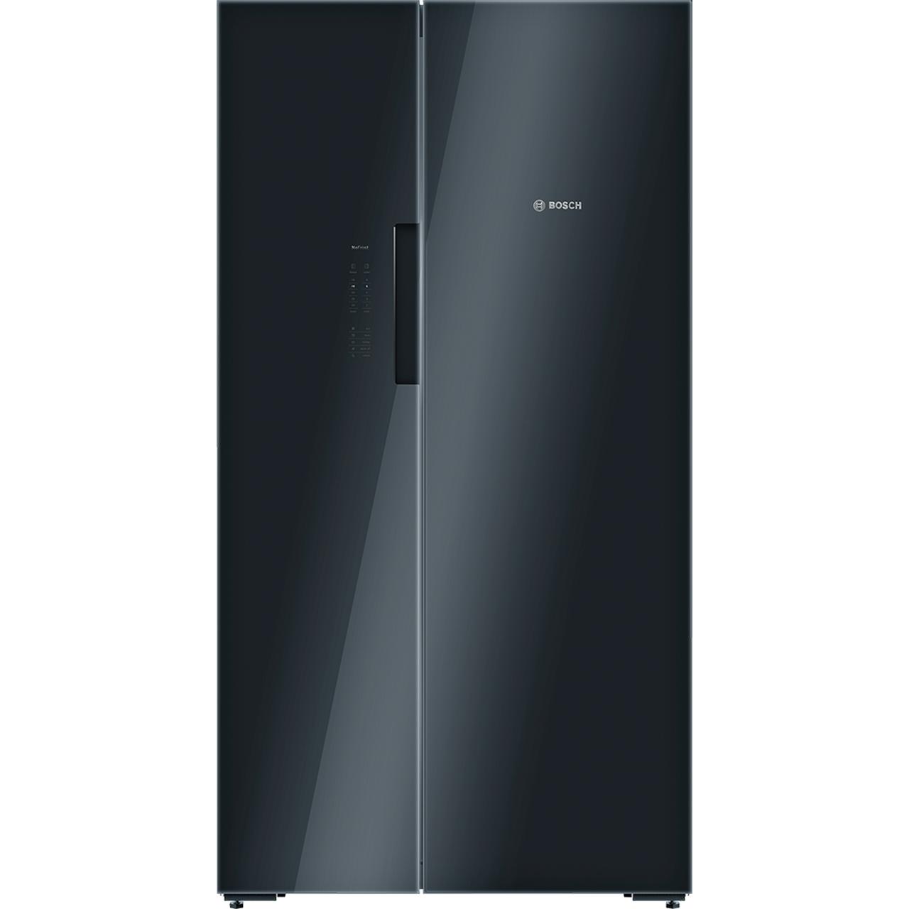 Bosch Serie 8 KAN92LB35 Free Standing American Fridge Freezer in Black Glass