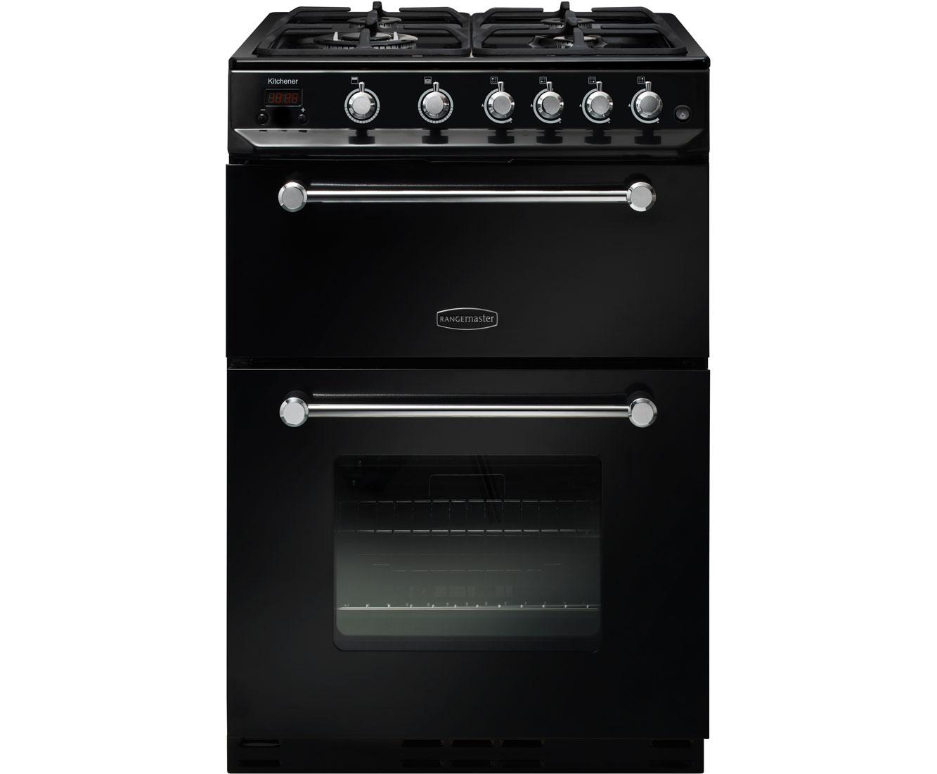 Rangemaster Kitchener 60 KCH60NGFBLC Free Standing Cooker in Black  Chrome