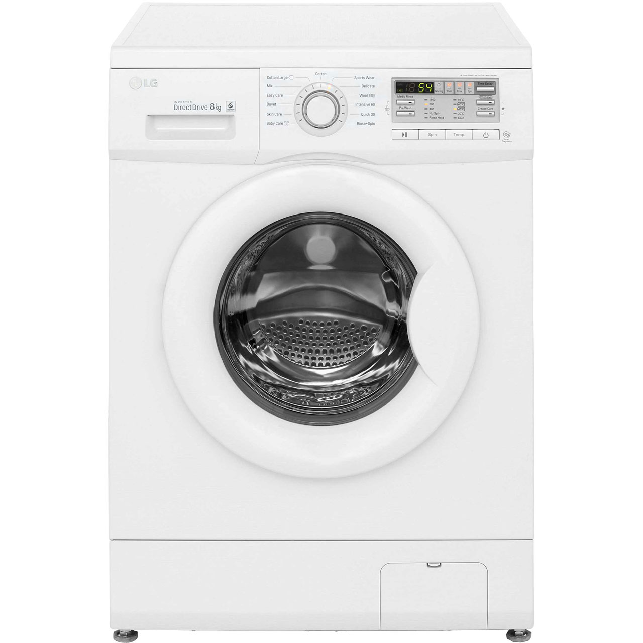 LG F14B8TDA 8Kg Washing Machine with 1400 rpm - White