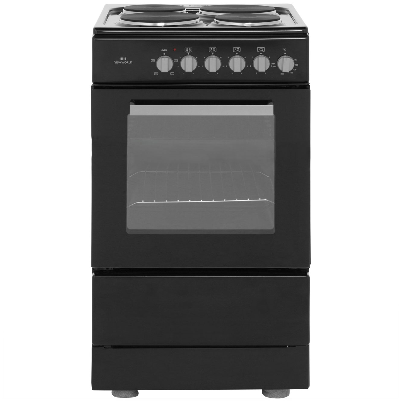 Newworld NWES50S Electric Cooker with Solid Plate Hob - Black