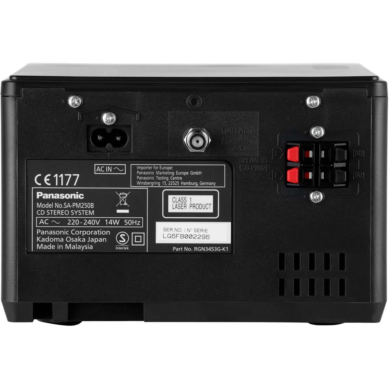 Panasonic Sc Pm250bebs 20 Watt Mini Hi Fi System Bluetooth