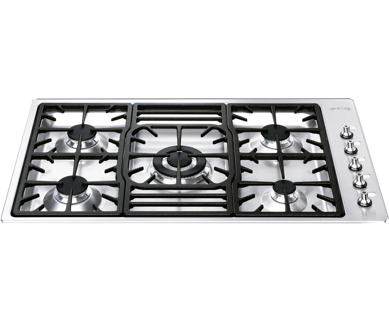 smeg pgf95 4 87cm gas hob stainless steel. Black Bedroom Furniture Sets. Home Design Ideas