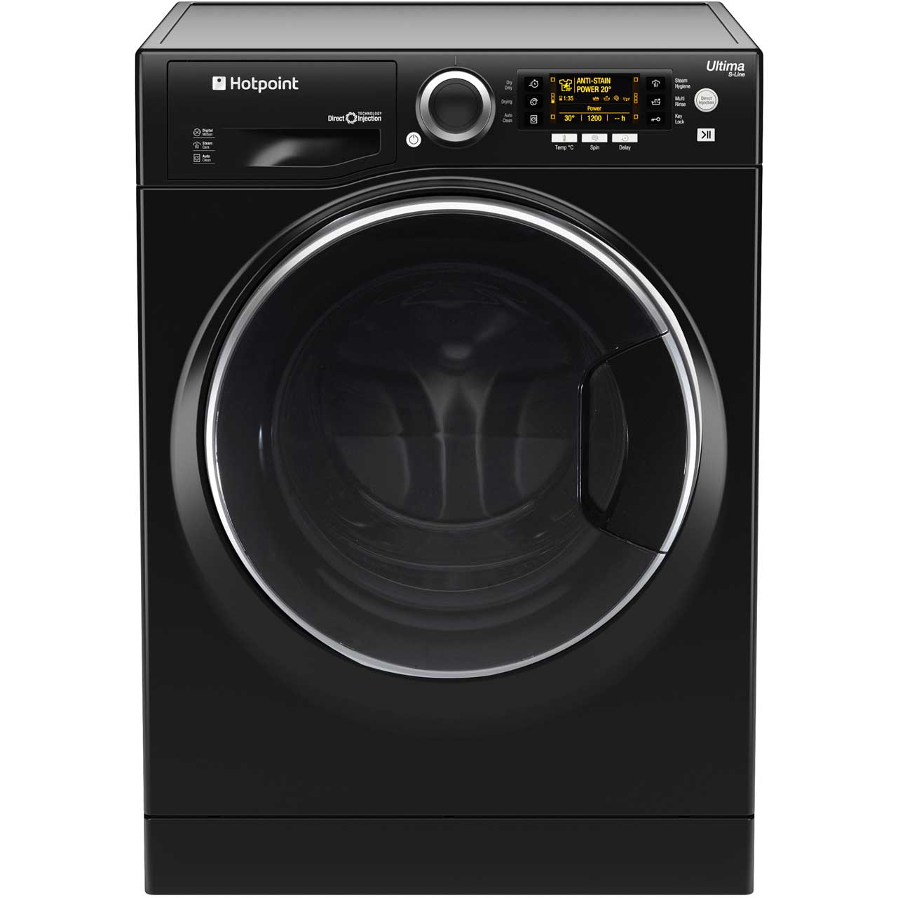 Hotpoint Ultima SLine RD966JKD Free Standing Washer Dryer in Black
