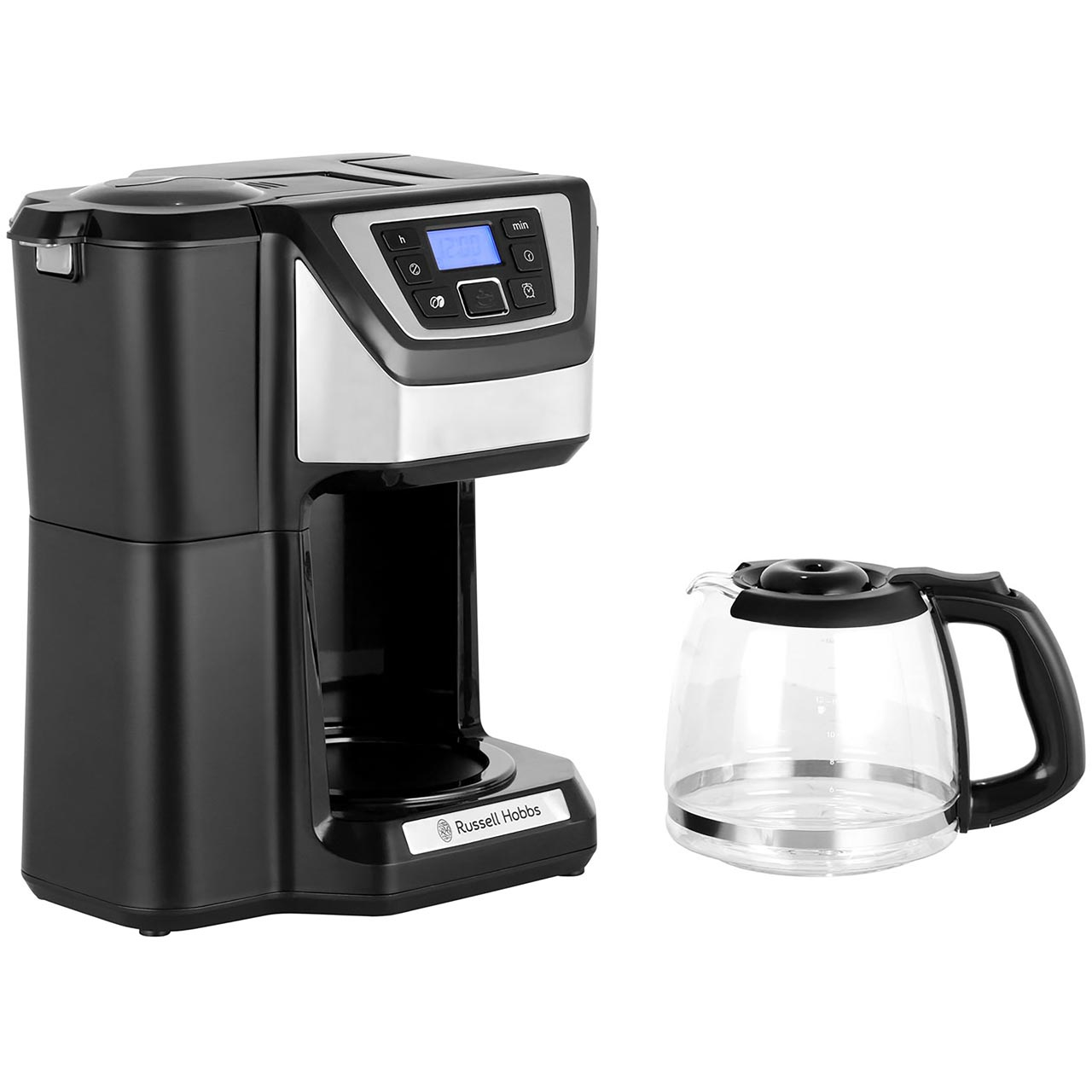 Russell Hobbs Chester Grind Brew 22000 Filter Coffee Machine With Timer Silver Black