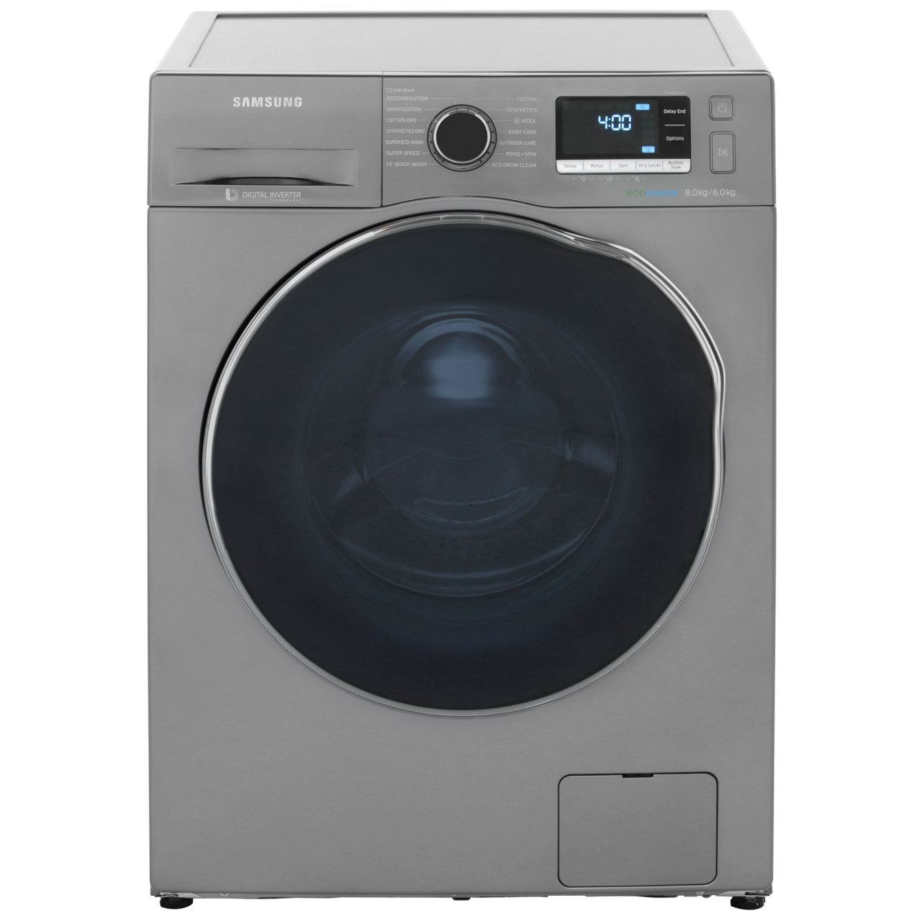 Samsung Ecobubble WD80J6410AX 8Kg / 6Kg Washer Dryer with 1400 rpm - Stainless Steel Look