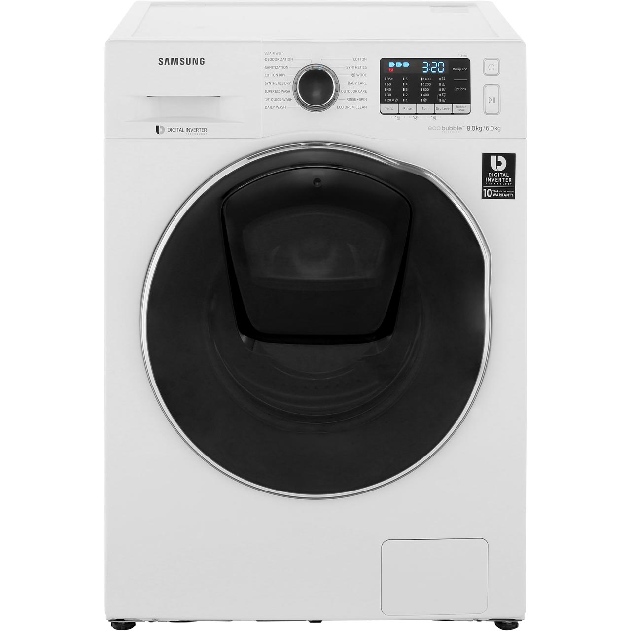 Samsung Addwash Ecobubble Wd80k5b10ow 8kg 6kg Washer