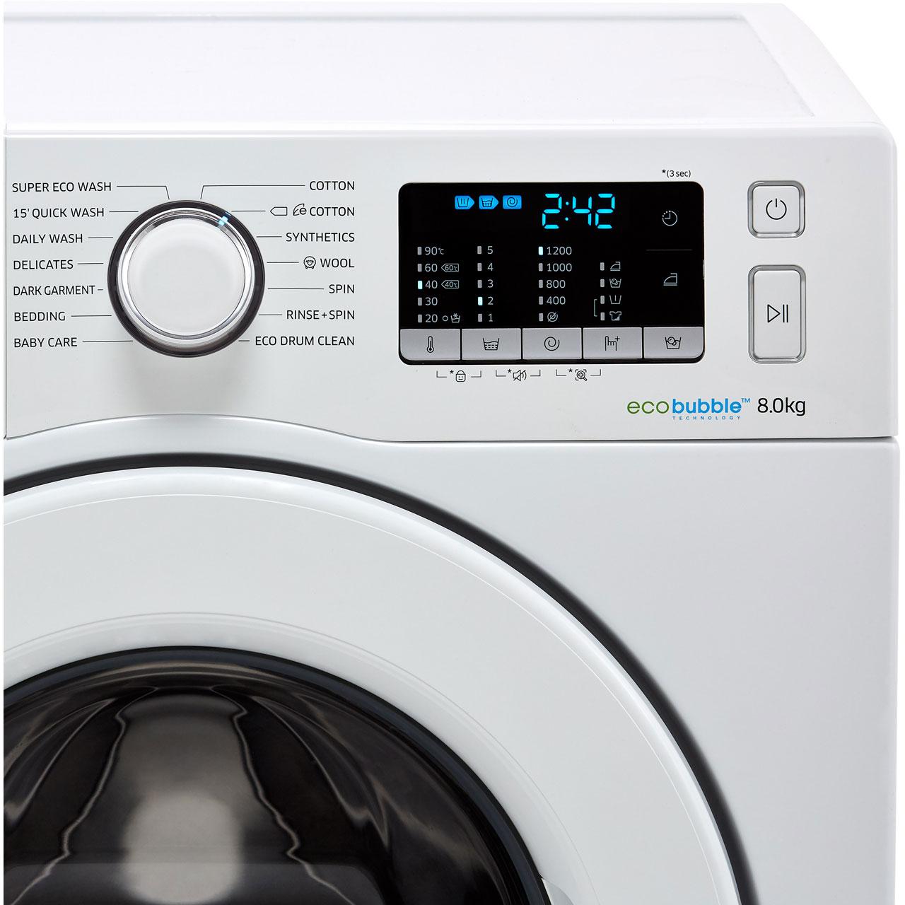 Samsung ecobubble™ WW80J5355MW Washing Machine - White