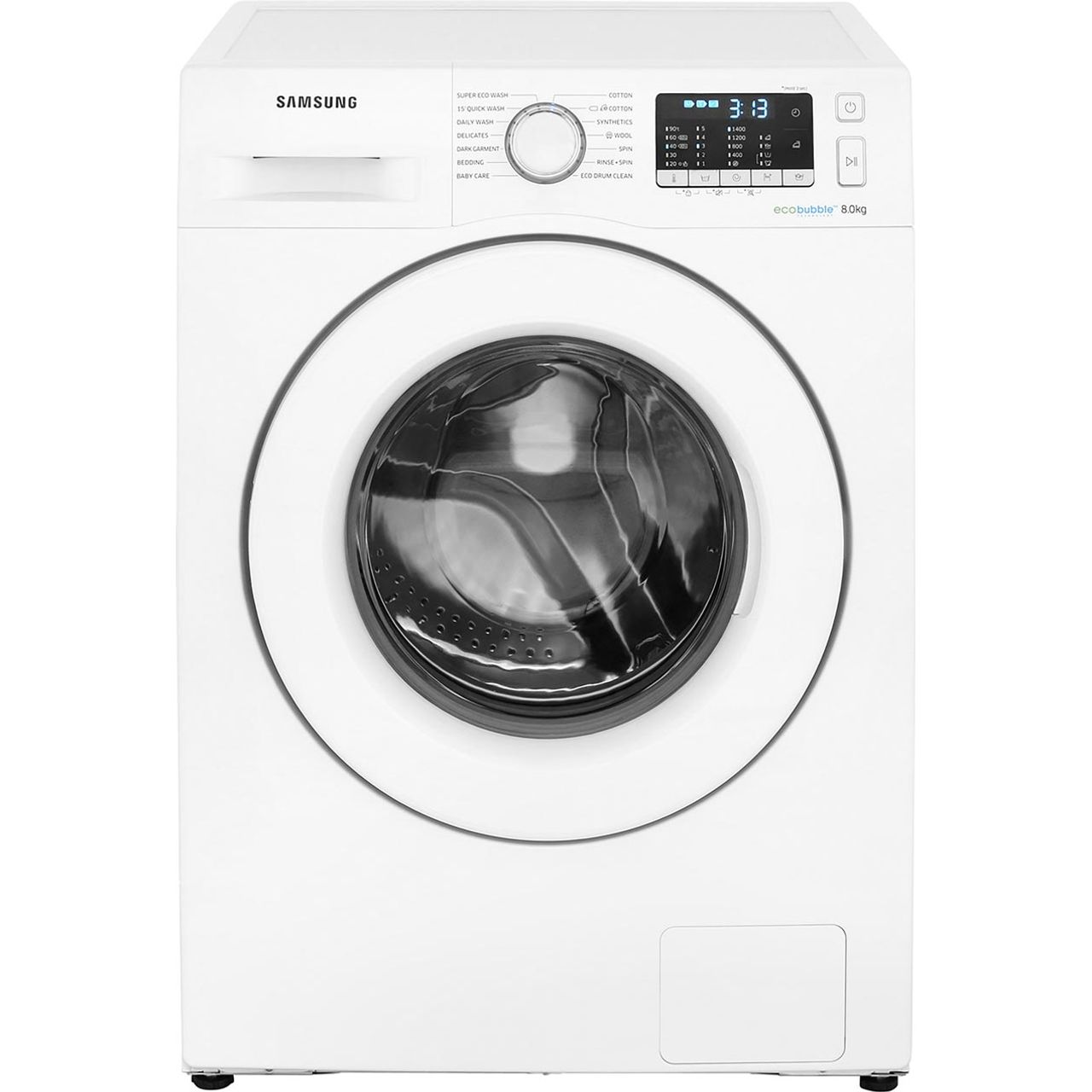 Samsung ecobubble™ WW80J5555MW 8Kg Washing Machine with 1400 rpm - White -  A+++ Rated