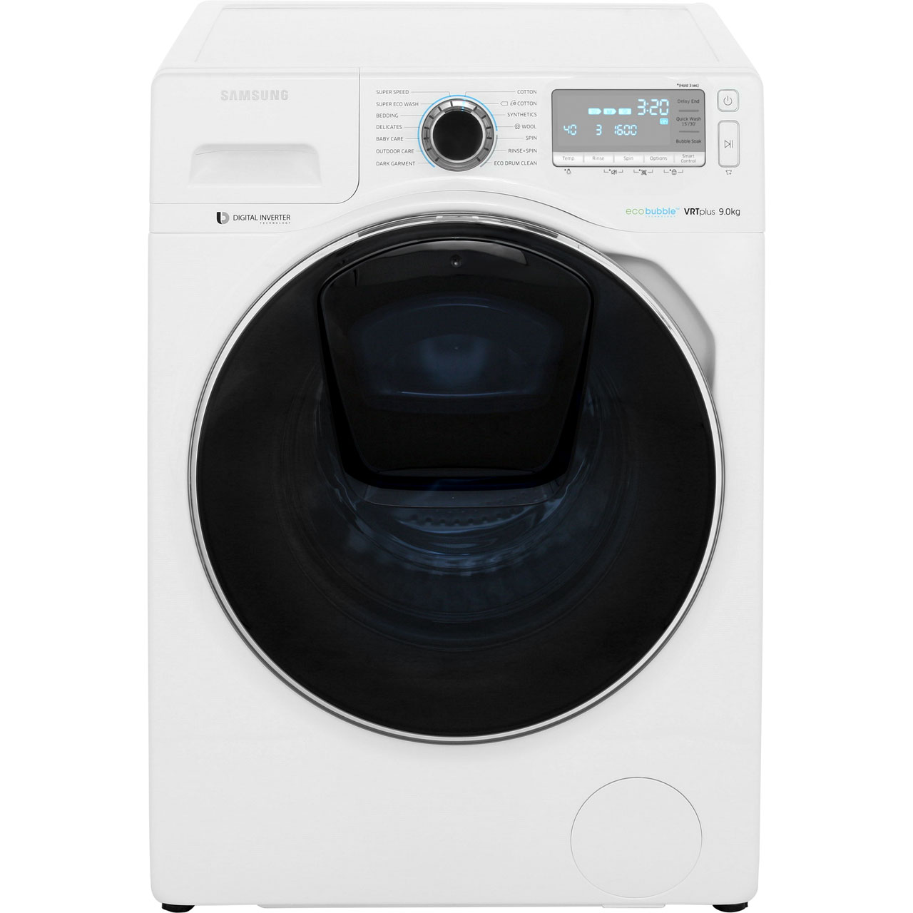 samsung ecobubble addwash ww90k7615ow 9kg washing machine with 1600 rpm white. Black Bedroom Furniture Sets. Home Design Ideas