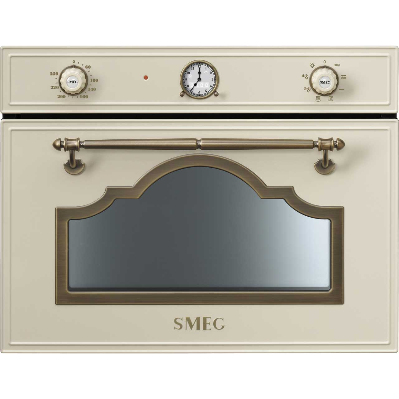 Smeg Cortina SF4750MPO Integrated Microwave Oven in Cream  Brass