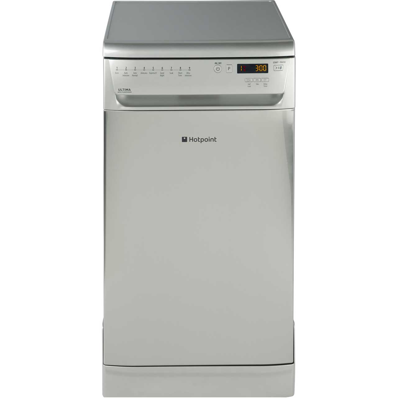 Hotpoint Ultima SIUF32120X Free Standing Slimline Dishwasher in Stainless Steel