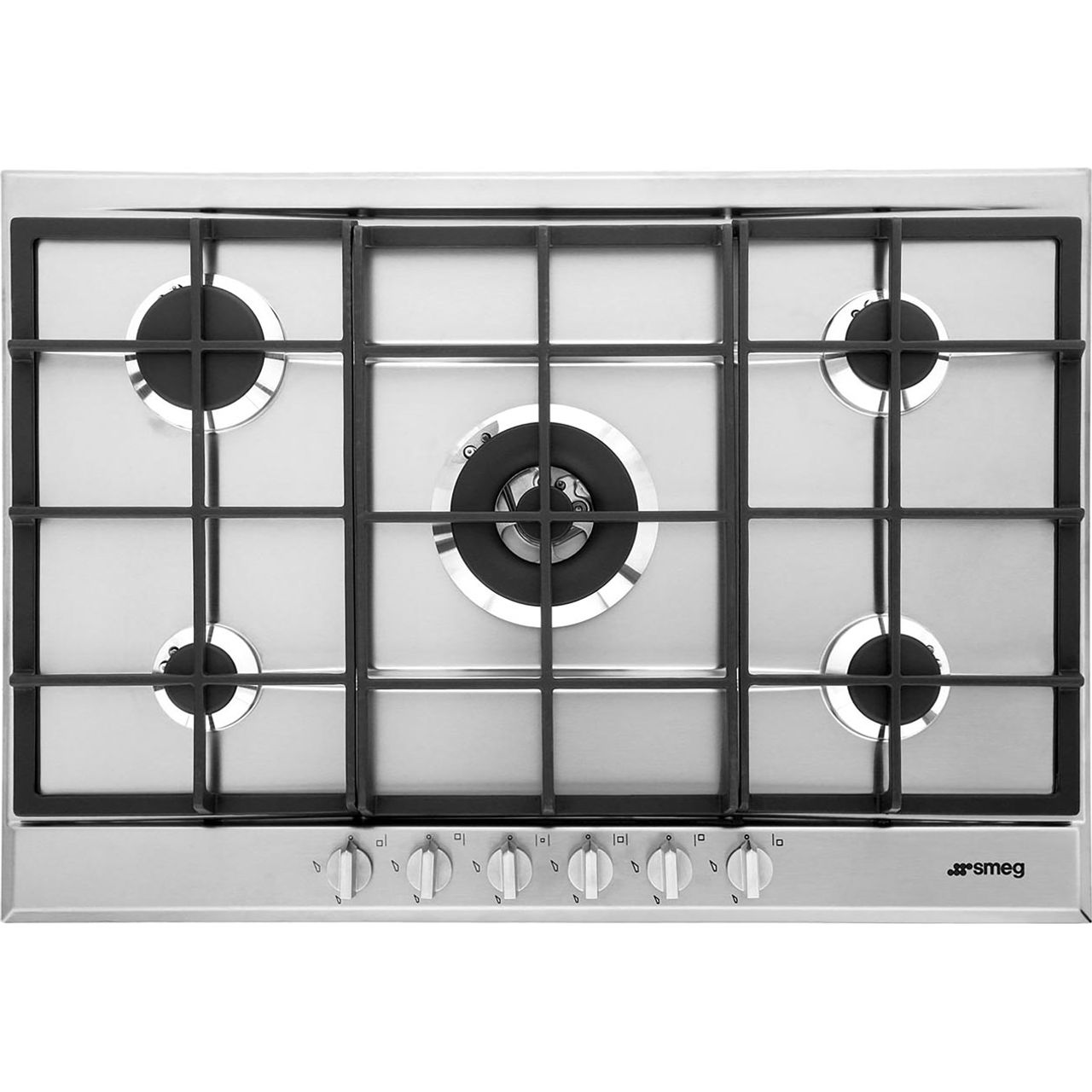 Smeg cucina p272xgh 72cm gas hob stainless steel - Smeg cucina gas ...