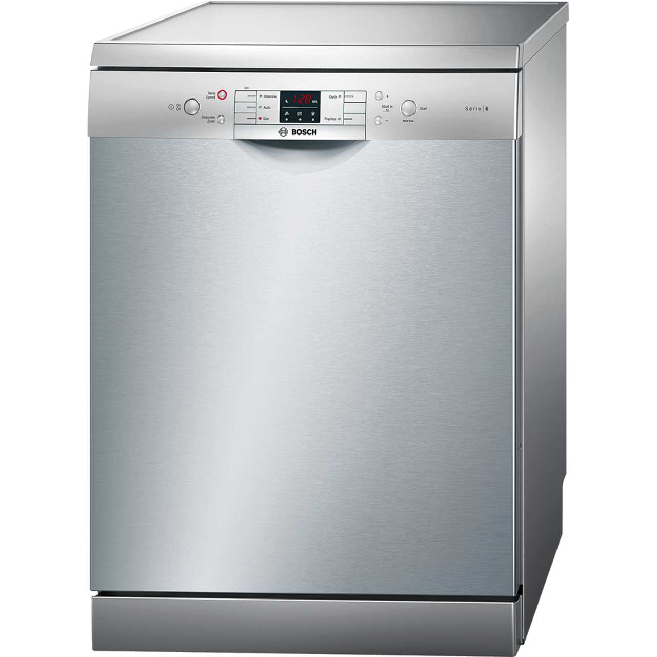 Bosch Serie 6 SMS53M08UK Free Standing Dishwasher in Silver