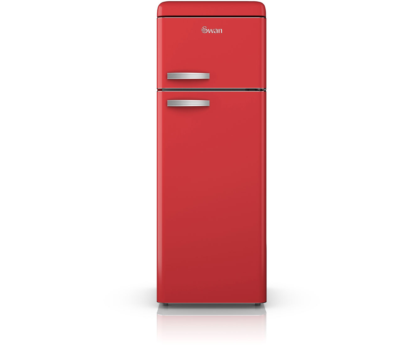 Swan Retro SR11010RN Free Standing Fridge Freezer in Red