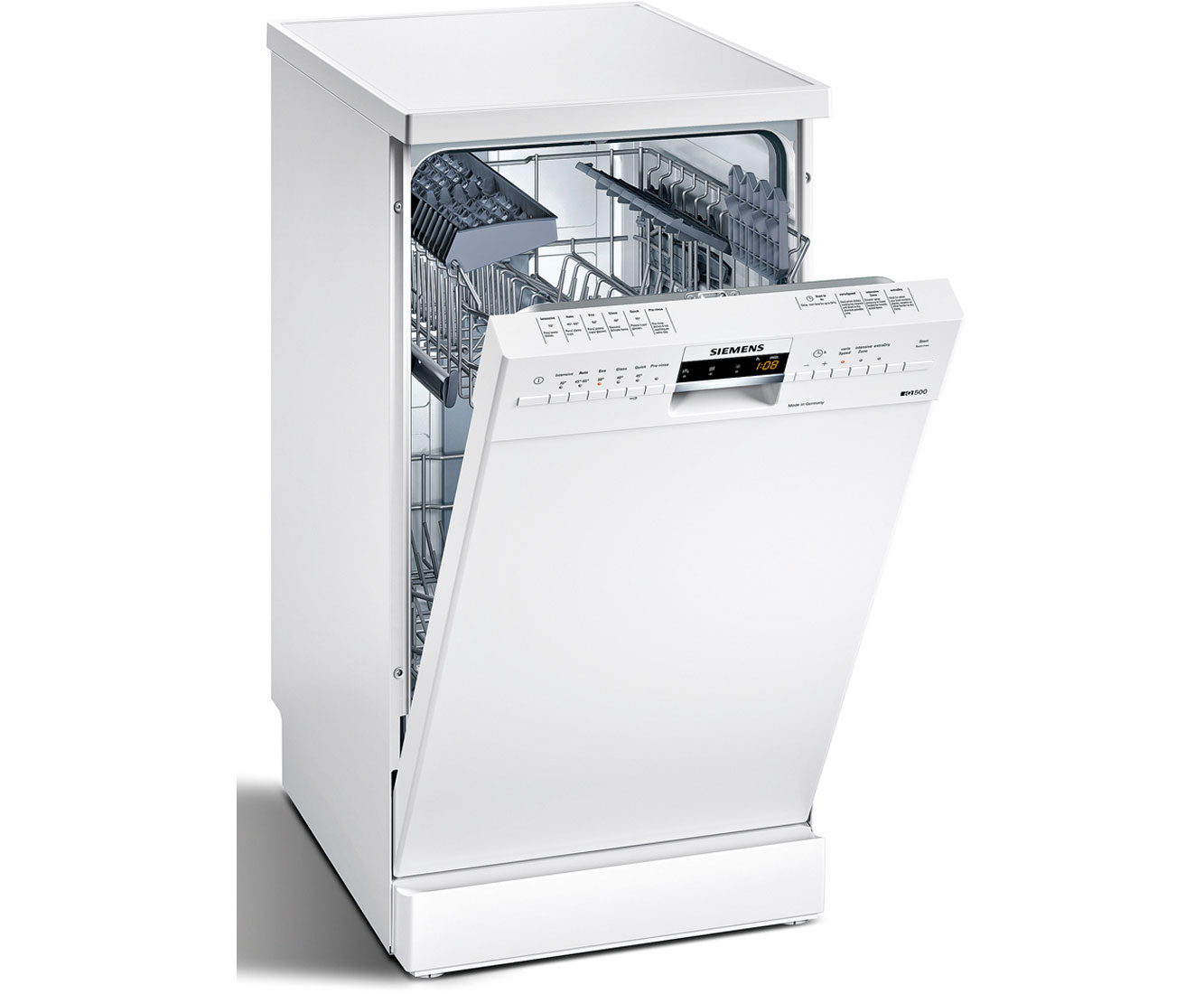 Siemens IQ500 SR26M231GB Free Standing Slimline Dishwasher in White