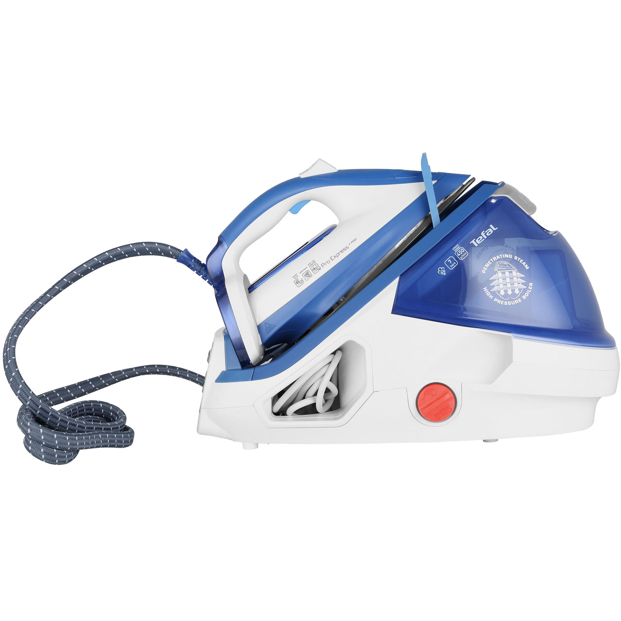 Tefal Pro Express Plus Anti Scale Pressurised Steam Generator Iron - Blue / White